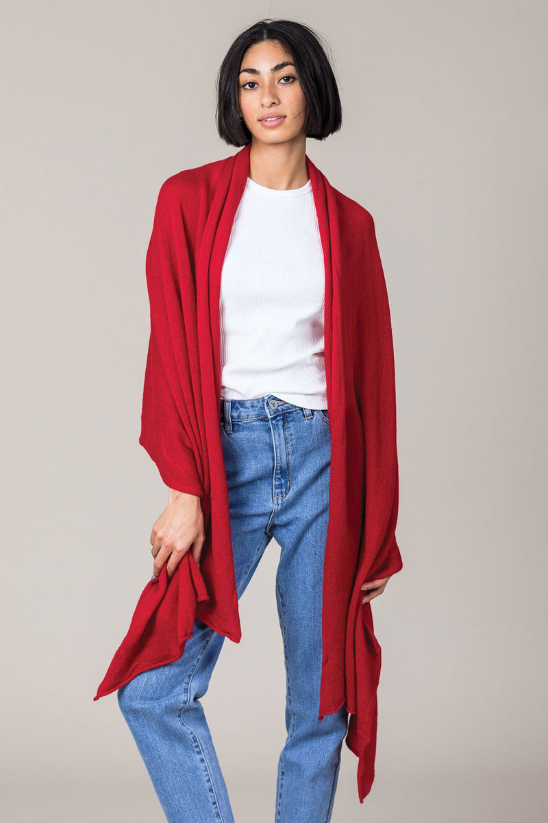 Cashmere Raw Edge Travel Wrap in Ruby Red