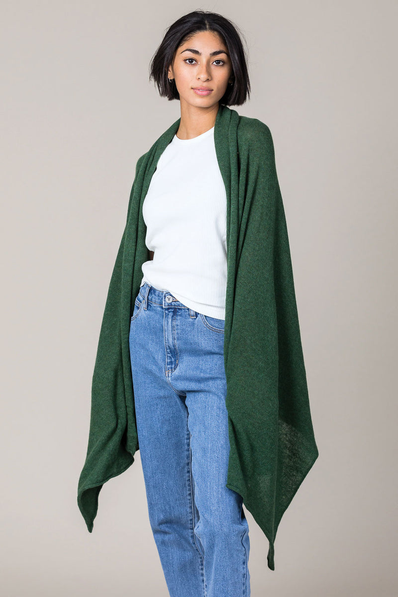 Cashmere Raw Edge Travel Wrap in Serpentine Green