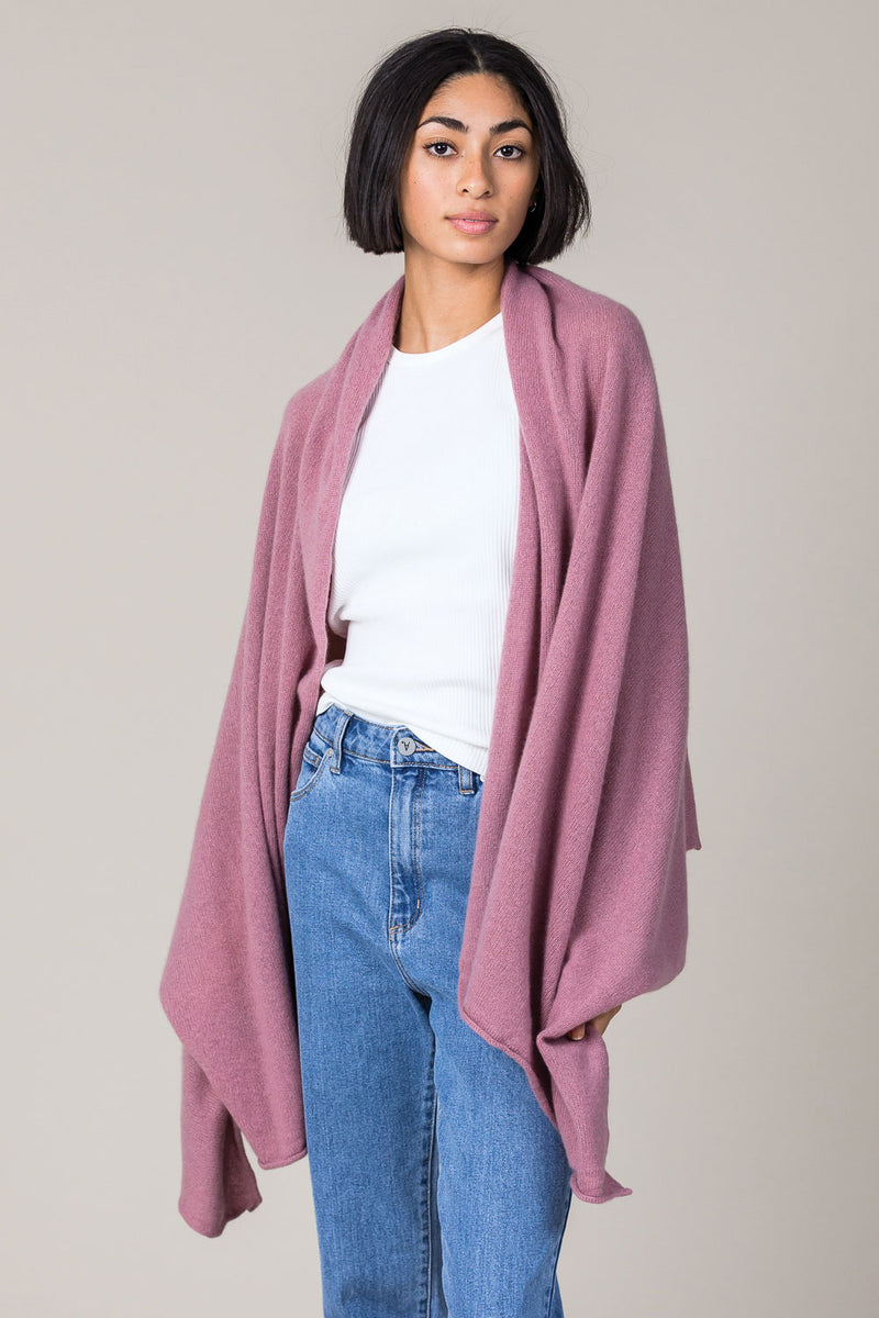 Cashmere Raw Edge Travel Wrap in Shawl Pink