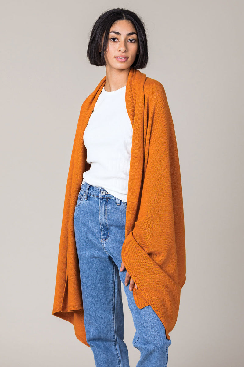 Cashmere Travel Wrap in Spice Orange