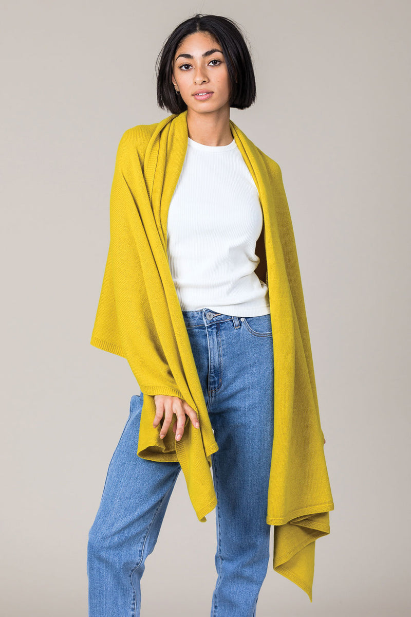 Cashmere Travel Wrap in Turmeric Yellow