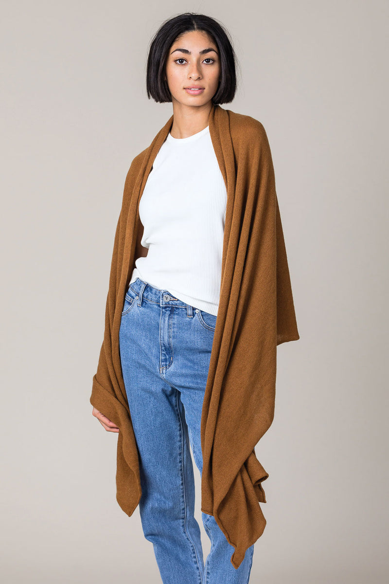 Cashmere Raw Edge Travel Wrap in Vintage Vicuna