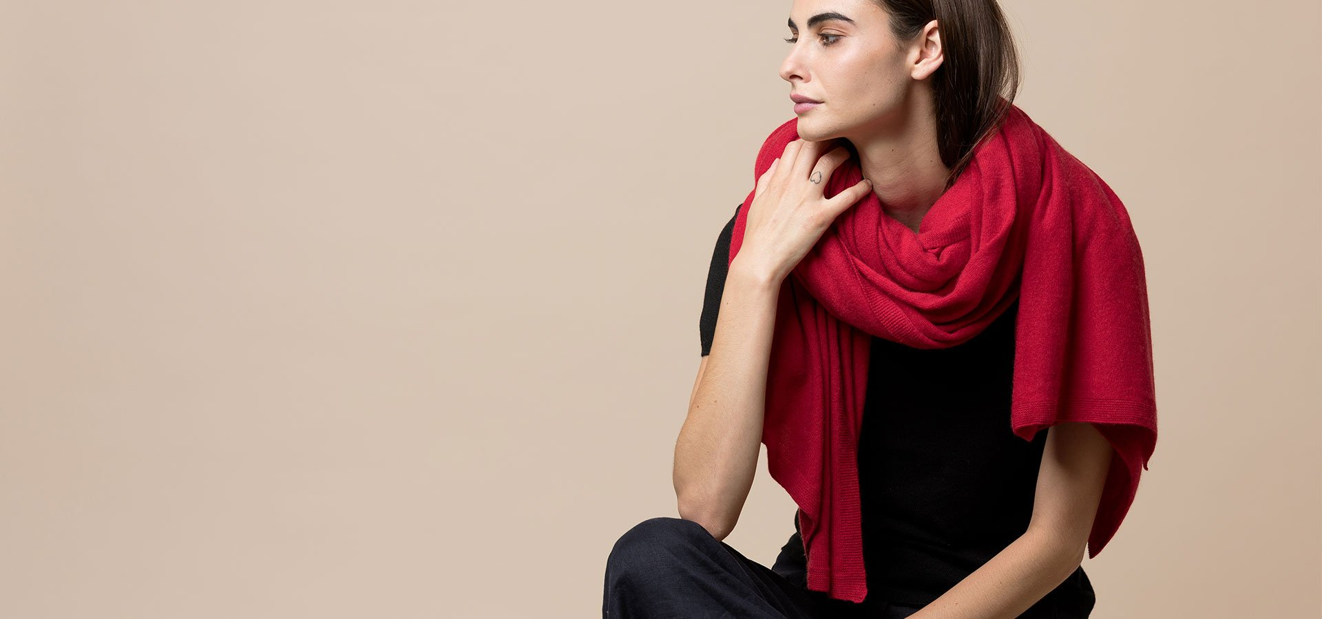 Signature Cashmere travel wrap in ruby red
