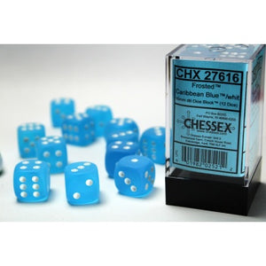 16mm d6 with pips Dice Blocks (12 Dice) - Frosted Caribbean Blue w/white