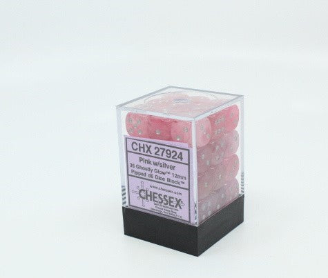 Ghostly Glow™ – 12mm d6 PINK W/SILVER Dice Block