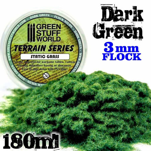 Static Grass Flock 3 mm - Dark Green - 180 ml