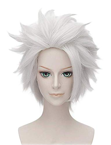 Morvally Ursula Wig Silver Grey Anime Short Layered Cosplay Costume Halloween Wig for Adult and Kids