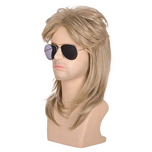 Morvally Men's 70s 80s Mullet Style Blonde Hair Wig Glam Rock-Rocker Wig Perfect for Halloween, Cosplay, DIY Themed Costume Party