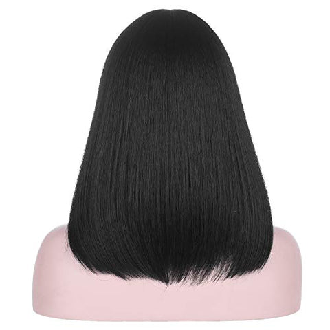 16 Inch Short Black Middle Part Natural Black Bob Wig | Soft Heat Resistant Synthetic Hair for Women Daily Wear Cosplay