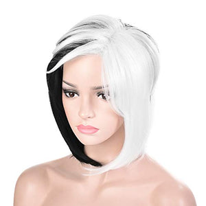 Morvally Black and White Bob Wigs for Women Cosplay Halloween Costume
