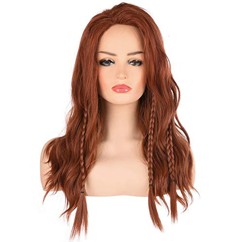 Morvally Womens Long Wavy Brown Hair Wigs | Natural Heat Resistant Synthetic Hair Wig for Women Cosplay, Costume and Halloween
