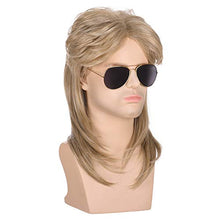Load image into Gallery viewer, Morvally Men's 70s 80s Mullet Style Blonde Hair Wig Glam Rock-Rocker Wig Perfect for Halloween, Cosplay, DIY Themed Costume Party