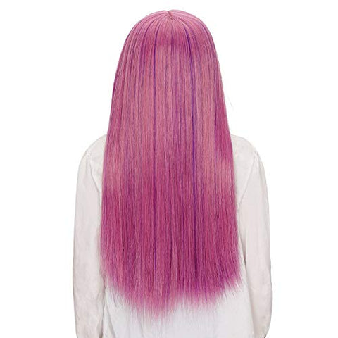 Morvally Long Straight Purple Wig for Kids Girls Decendants Mal Cosplay Wig