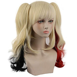 Morvally Multi-Color Ponytail Wigs for Women Halloween Party Costume Cosplay (Blonde/black/Red)