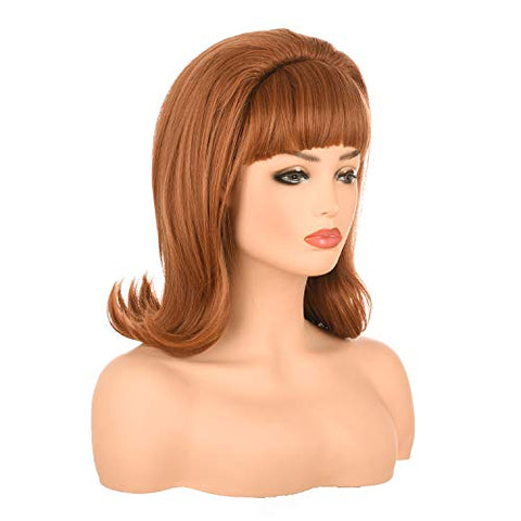 Morvally Light Brown Women Retro Wigs for Ginger Grant Cosplay Halloween Use