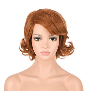 Morvally Women's Short Glamour Retro Wigs for Ginger Grant Cosplay Costume Halloween Party