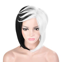 Load image into Gallery viewer, Morvally Black and White Bob Wigs for Women Cosplay Halloween Costume