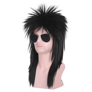 Morvally Unisex Long Black 70s 80s Mullet Cher Glam Rock-Rocker Cosplay Wigs for Women and Men's Halloween, Themed Costume Party