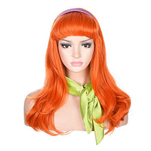 Load image into Gallery viewer, Morvally Long Wavy Ginger Orange Bangs Synthetic Wigs with Headband and Scarf for Women
