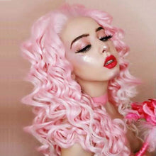 Load image into Gallery viewer, Morvally 26 Inches Ombre Long Pink Curly Lace Front Wigs For Women
