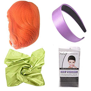 Morvally Long Wavy Ginger Orange Bangs Synthetic Wigs with Headband and Scarf for Women
