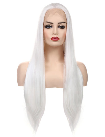 Morvally 24 inches Long Straight White Lace Front Wigs 1001#