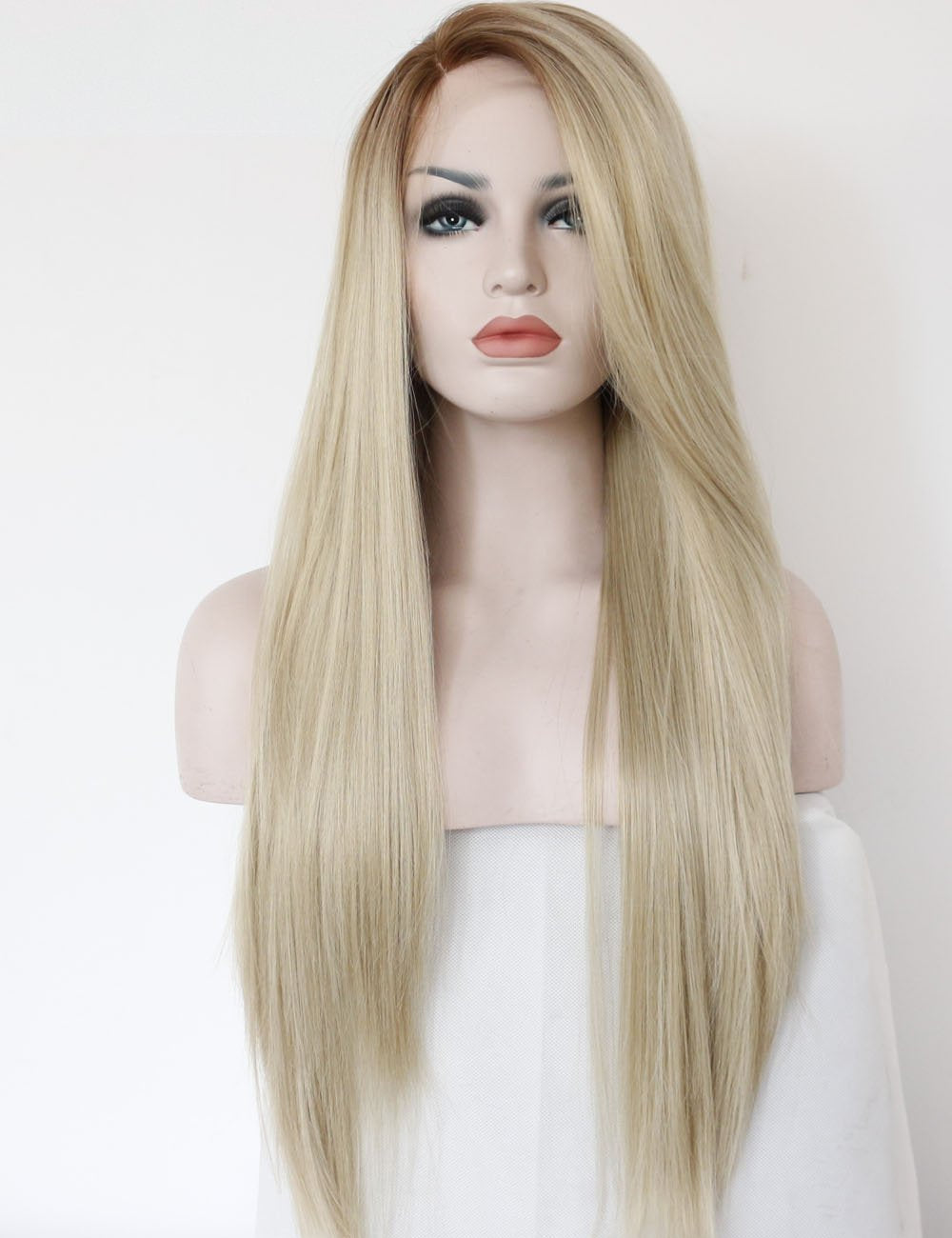 Morvally Fashion Ombre Long Blonde Lace Front Wigs for Women