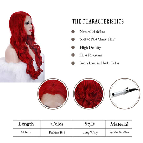 Morvally 22 Inches Long Wavy Ariel Cosplay Red Lace Front Wigs