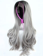 Load image into Gallery viewer, Morvally 22 Inches Ombre Gray Dark Roots Gray Synthetic Lace Front Wig