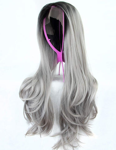 Morvally 22 Inches Ombre Gray Dark Roots Gray Synthetic Lace Front Wig