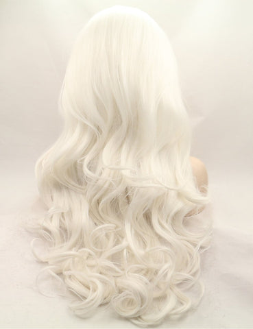Morvally 60# Long Platinum White Lace Front Wigs Synthetic Hair Wigs for Women