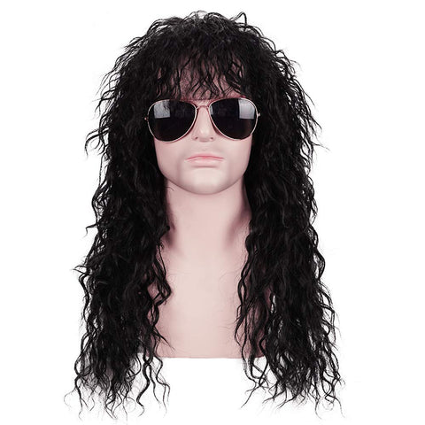 Morvally Men's 80s Style Long Black Curly Hair Wig Glam Rock-Rocker Wig Perfect for Halloween, Cosplay, DIY Themed Costume Party