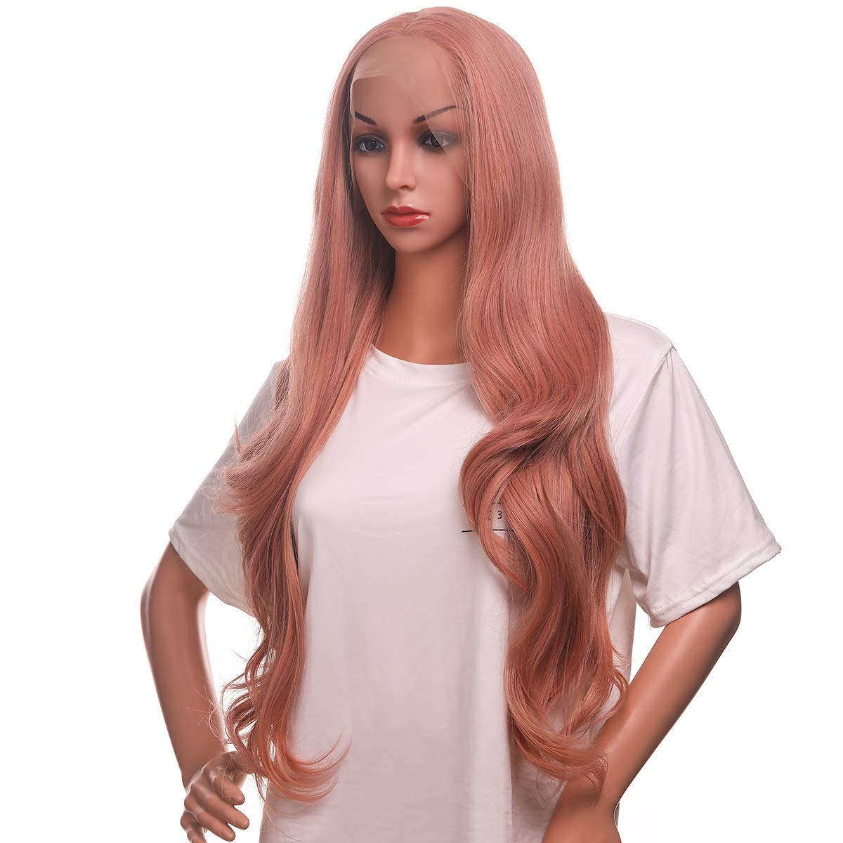 Morvally Natural Long Wavy Pink Lace Front Wigs for Women