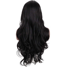 Load image into Gallery viewer, Morvally 28 Inches Long Black Wigs for Women - Natural Looking Wavy Heat Resistant Synthetic Hair Right Side Parting Replacement Wig