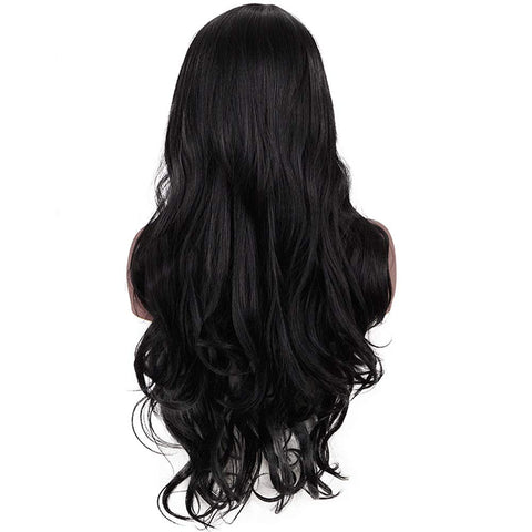 Morvally 28 Inches Long Black Wigs for Women - Natural Looking Wavy Heat Resistant Synthetic Hair Right Side Parting Replacement Wig
