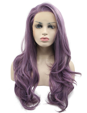 Morvally Fashion Purple Long Wavy Glueless Lace Front Wigs for Women