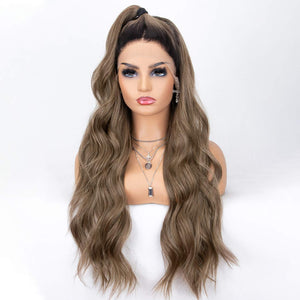 Morvally 22 Inches Long Brown Ombre Dark Roots Lace Front Wigs