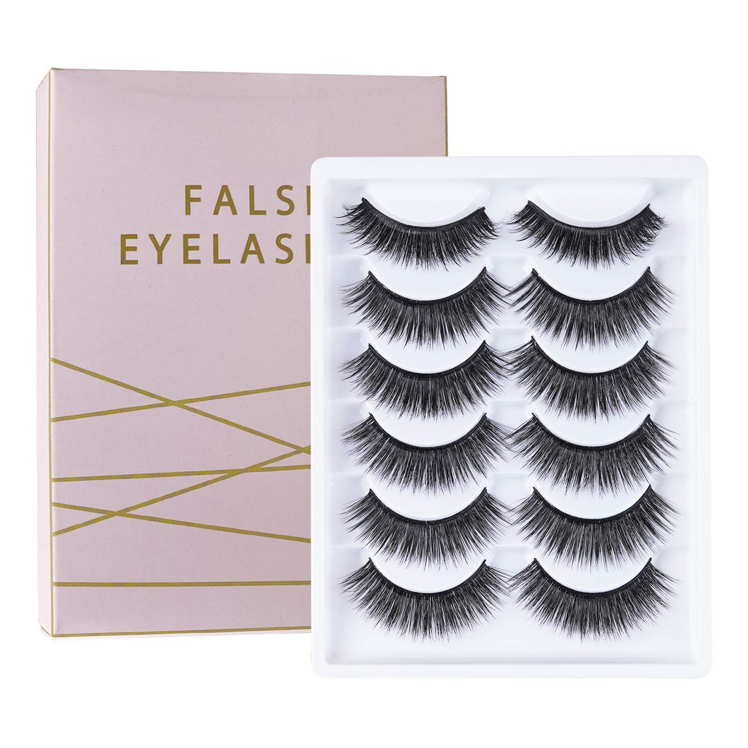 3D False Eyelashes, 6 Pairs of Natural Fluffy False Eyelashes, Reusable Long Thick Eyelashes, Used to Extend Makeup Eyelashes