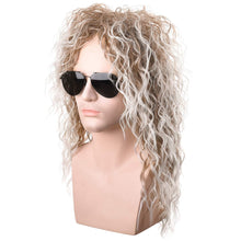 Load image into Gallery viewer, Morvally Men's 80s Style Wigs | Long Curly Silver Mixed Brown Synthetic Hair | Heavy Metal, Glam Rock-Rocker Wig | Perfect for Halloween, Cosplay, DIY Themed Costume Party