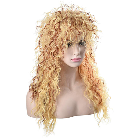 Morvally Women's 80s Blonde Long Curly Hair Wig | Hair Metal, Glam Rock-Rocker Wig | Adjustable Net Cap-Perfect Fit| Heat-Resistant Synthetic Fiber| Perfect for Halloween, Cosplay, DIY Themed Costume