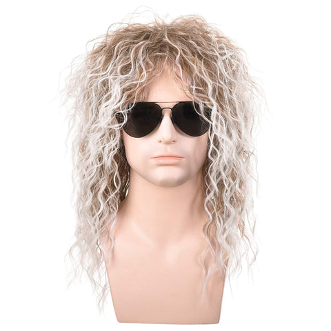 Morvally Men's 80s Style Wigs | Long Curly Silver Mixed Brown Synthetic Hair | Heavy Metal, Glam Rock-Rocker Wig | Perfect for Halloween, Cosplay, DIY Themed Costume Party