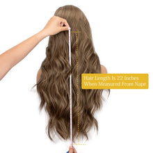 Load image into Gallery viewer, Morvally 22 Inches Long Brown Ombre Dark Roots Lace Front Wigs