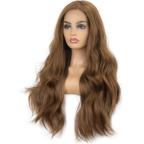 Morvally 22 Inches Long Golden Brown Wavy Lace Front Wigs for Women