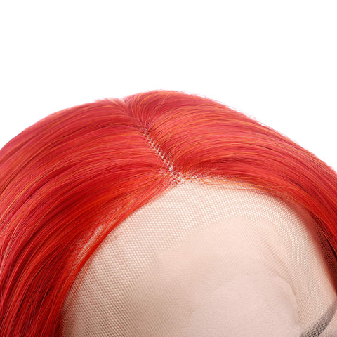 Morvally Fashion Red Long Wavy Glueless Lace Front Wigs for Women