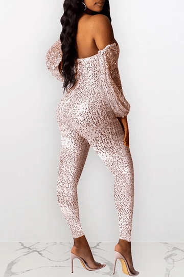 Sequined Off The Shoulder Club Jumpsuit