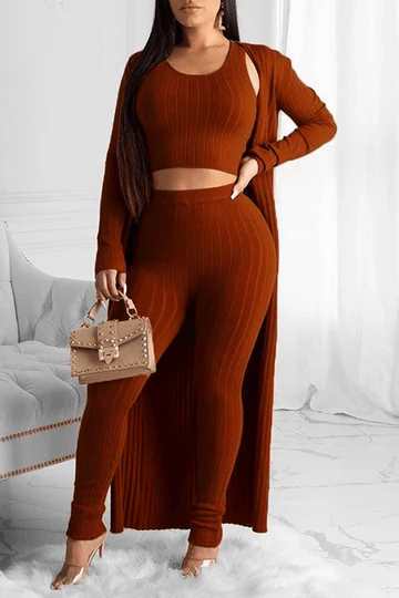 Solid Color Rib Long Sleeve Three Piece Sets