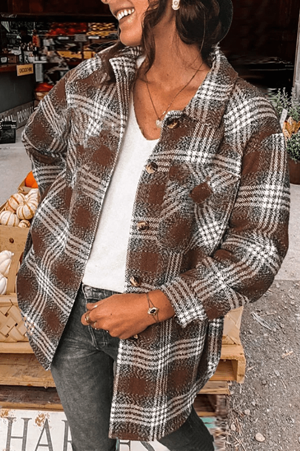 LAPEL CASUAL TARTAN BOUCLE SHIRT OUTERWEAR
