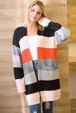 Color Block Stripe Open Front Casual Cardigan