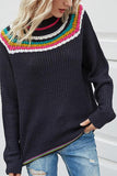 Stripe Round Neck Long Sleeves Splice Sweater