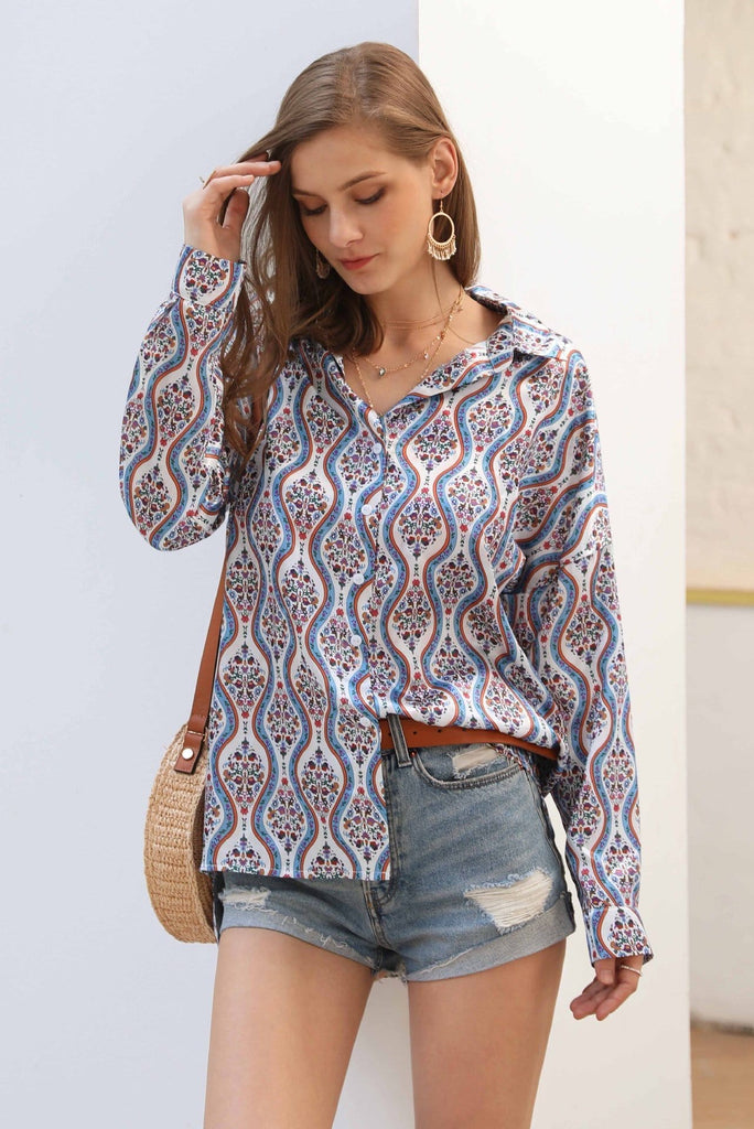 Long Sleeve Polyline Design Blouse